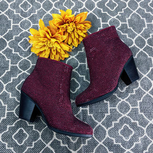 🆕 Juicy Couture Burgundy Ankle Boots Sz 6M